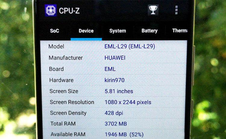 CPU-Z — пример отображение параметров смартфона