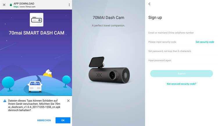 Настройки приложения видеорегистратора Xiaomi 70 минут для автомобиля