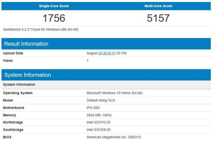 Geekbench 4 CPU Test GBox