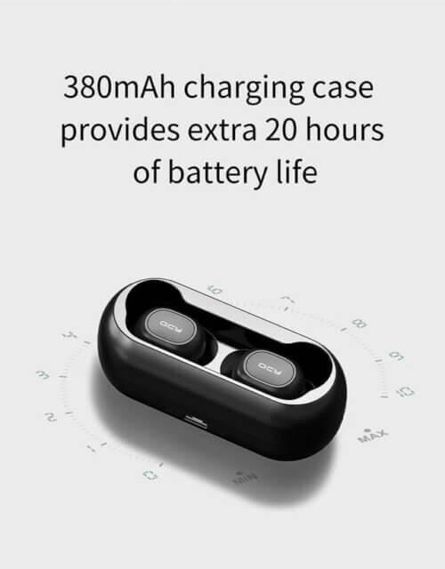 Емкость и время работы Bluetooth-наушников с микрофоном QCY QS1