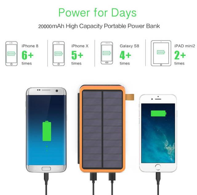 Количество зарядок Iphone ipad samsung от зарядки с солнечной батареей
