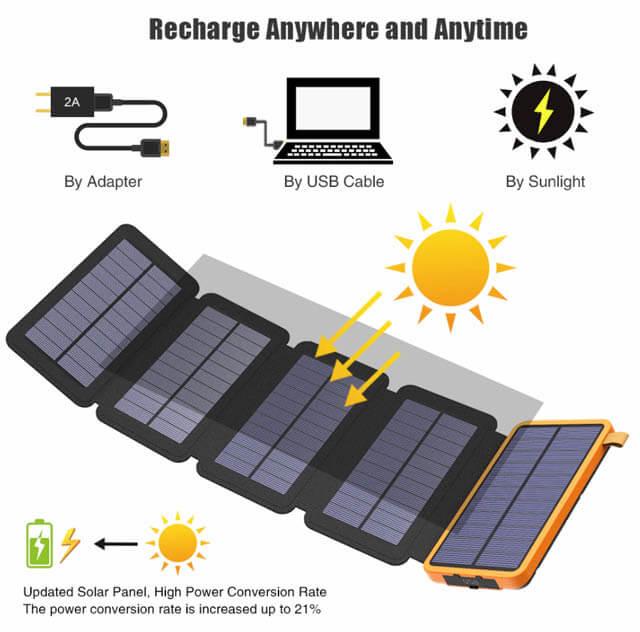 Внешний аккумулятор с солнечной батареей Allpowers XD-SC-010