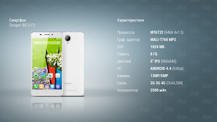 Характеристики смартфона Doogee Ibiza F2
