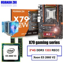 HUANAN ZHI deluxe X79 LGA2011 gaming motherboard with M.2 NVMe CPU Intel Xeon E5 2690 C2 2.9GHz with cooler RAM 64G RECC